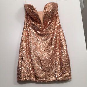Tobi Strapless Sequin Mini Dress M